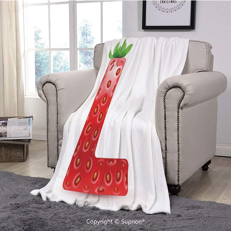 Printing Blanket Coral Plush Super Soft Decorative Throw Blanket,Letter L,Juicy Ripe Strawberry in Shape of Letter L Boys Girls Kids Design,Vermilion Green orange(59  x 59 )