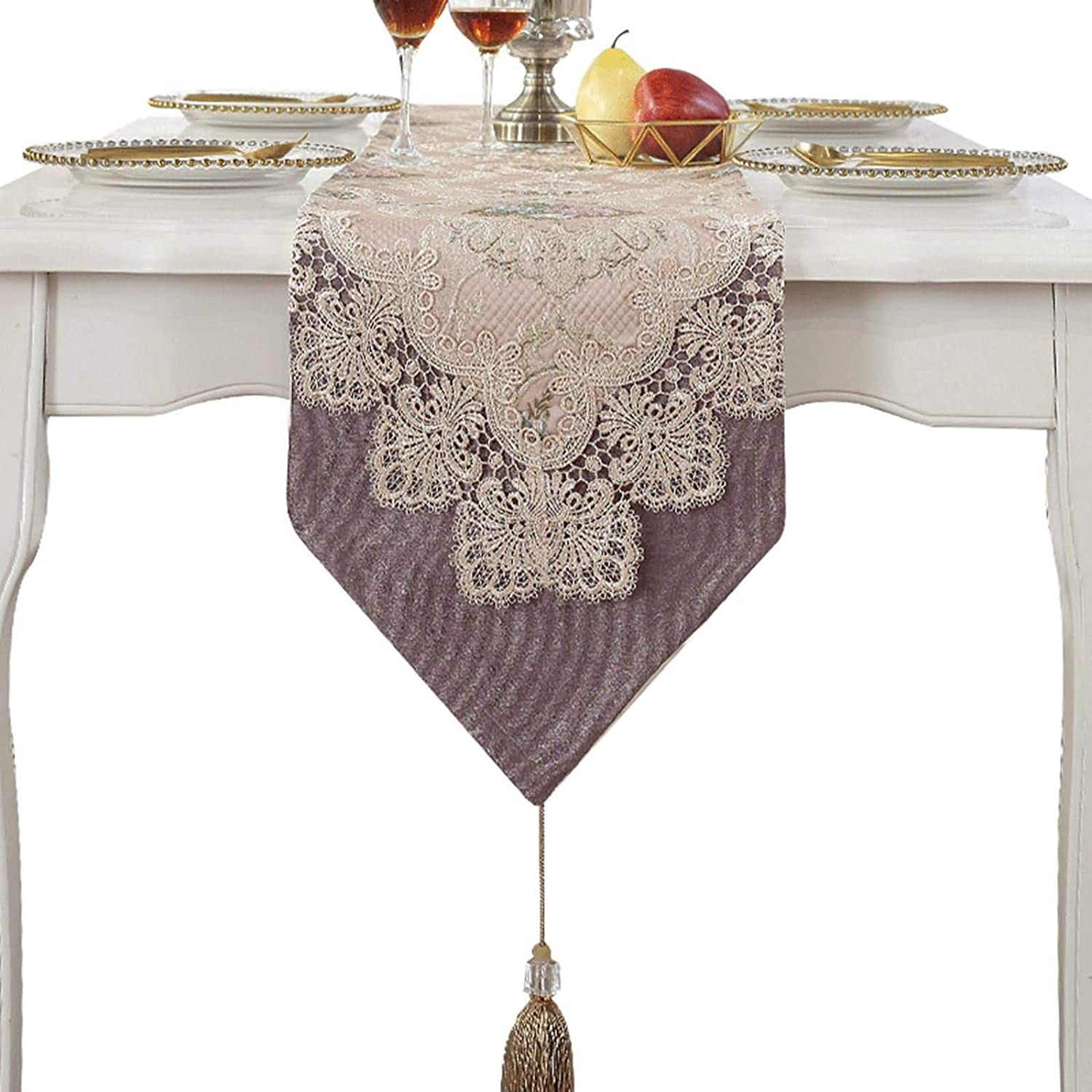 Aokarry Table Runner - Polyester Fringed Triangle New York Popular Mall lace Embroider