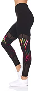 BSP Better Sports Performance Women's High Waist Leggings - Printed Active Yoga Pants Mesh Detail,Non See-Through
