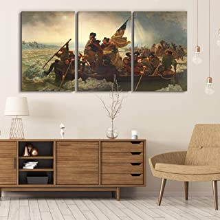 wall26 3 Panel World Famous Painting Reproduction on Canvas Wall Art - George Washington Crossing The Delaware by Emanuel Leutze - Modern Home Decor Ready to Hang - 16