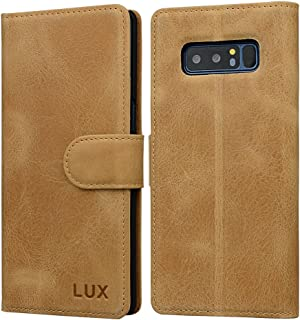 Samsung Note 8(2017) Genuine Leather Case: Crafted with Premium Italian Leather [Wireless Charging Compatible] Wallet Case Perfect for Carrying Your Essentials ID Cash, Kickstand Folio by Lux Cases