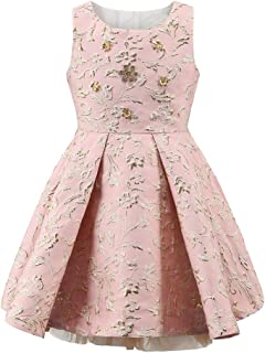 Girls 5 Golden Metal Flowers Decoration Pink Party Dress for Girls Light Blue Dresses Clothes