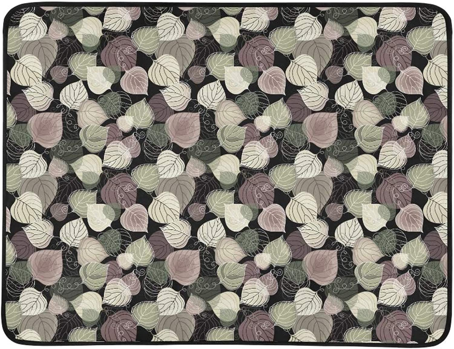 Dark Floral Pattern with Transparent Leaves Pattern Portable and Foldable Blanket Mat 60x78 Inch Handy Mat for Camping Picnic Beach Indoor Outdoor Travel