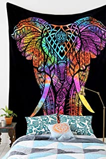 Royal Furnish Multi Tie Dye Hippie Elephant Wall Tapestry Wall Hanging (Black-Multi)