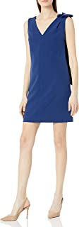 Donna Morgan Women's Sleeveless V-Neck Crepe Dress with Shoulder Bow Detail