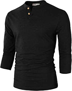 Mens Casual Premium Slim Fit Henley Shirts Lightweight Thin Fabric and Various Styles