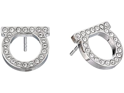 Salvatore Ferragamo Gancini Crystal Stud Earrings (Crystal/Platinum) Earring