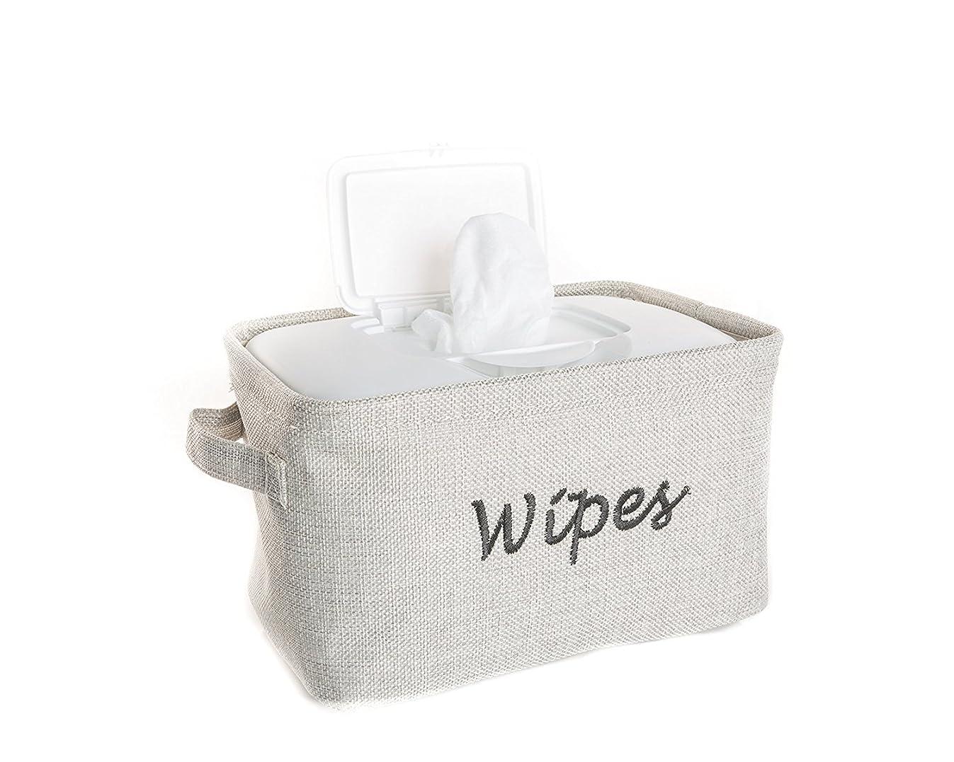 Dejaroo Baby Wipe Storage Bin - Nursery Organizer Caddy - Embroidered Eco-friendly Grey Linen (GREY)