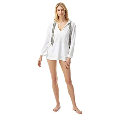 MICHAEL Michael Kors Solid Terry Cover-Up Hoodie w/ Front Pocket and Logo Ties (White) Women