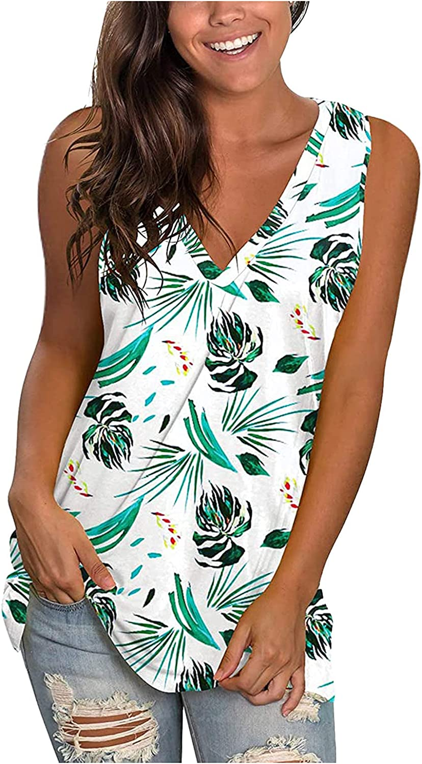Summer Tops for Women,Women Trendy V-Neck Sleeveless Floral Printed T-Shirts Casual Loose Tunic Tees
