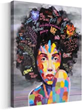 Crescent Art Framed Black Art African American Wall Art For Living Room, Original Design Painting on Canvas Print (16 x 20 inch, B Framed)