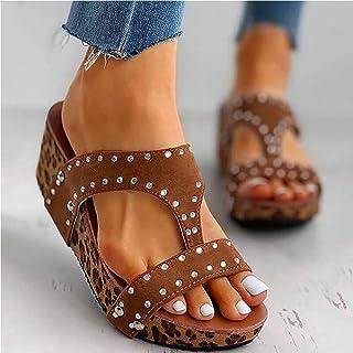 Women Sandals Ladies Summer Wedge Slippers Platform Peep Toe Walking Shoes Casual Beach Anti Slip Sandals,Brown,EU 38