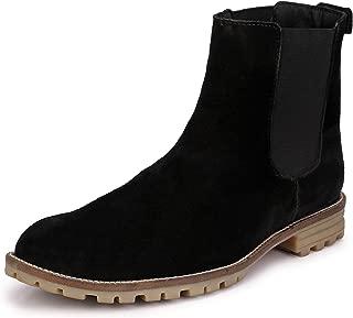 HiREL'S Men's Black Leather Boots-8 UK (42 EU) (hirel2022)