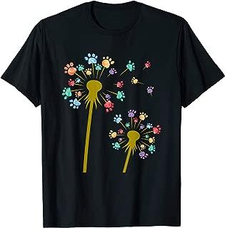 Colored Dog Paw Dandelion Flower Print Cute Gift T-Shirt
