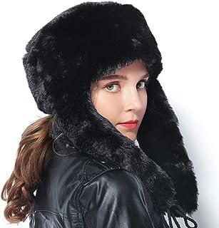 6d7fe060443 EBEYUKI Women s Winter Hat Raccoon Fur Russian Ushanka Hat for Ladies Keep  Warm (Black)
