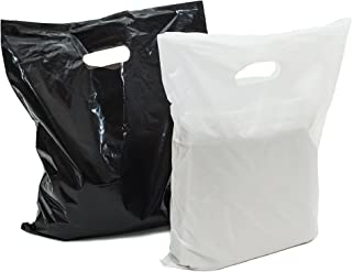 """Merchandise bags: ACME Bag Bros 100 large black and white plastic retail bags, plastic bags w handles 12x15""""; plastic shopping bags; high density, for party, gifts, small retail shops & trade shows"""