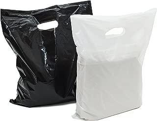 100 large glossy black & white plastic merchandise bags w/die-cut handles 12x15