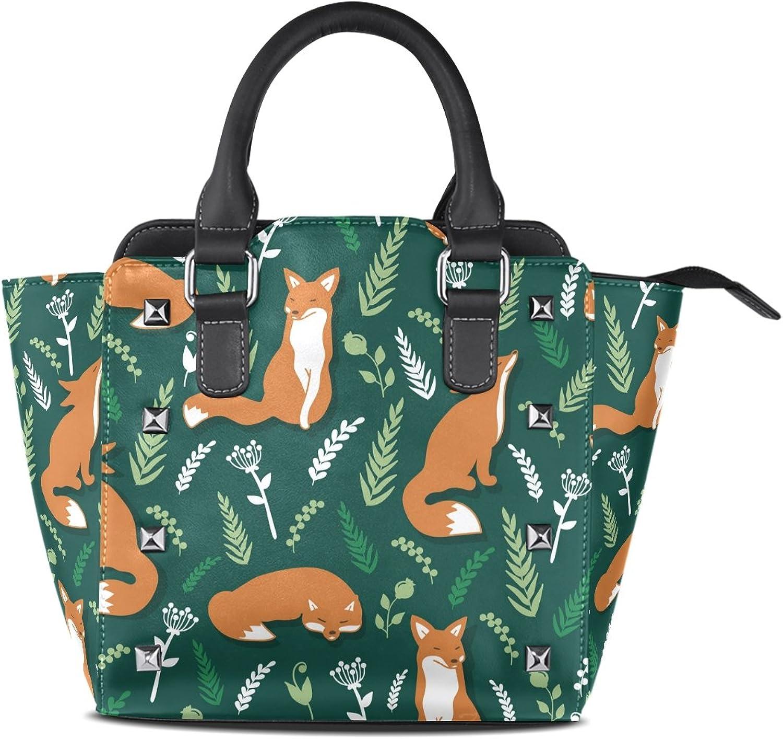 My Little Nest Women's Top Handle Satchel Handbag Foxes and Flowers Ladies PU Leather Shoulder Bag Crossbody Bag