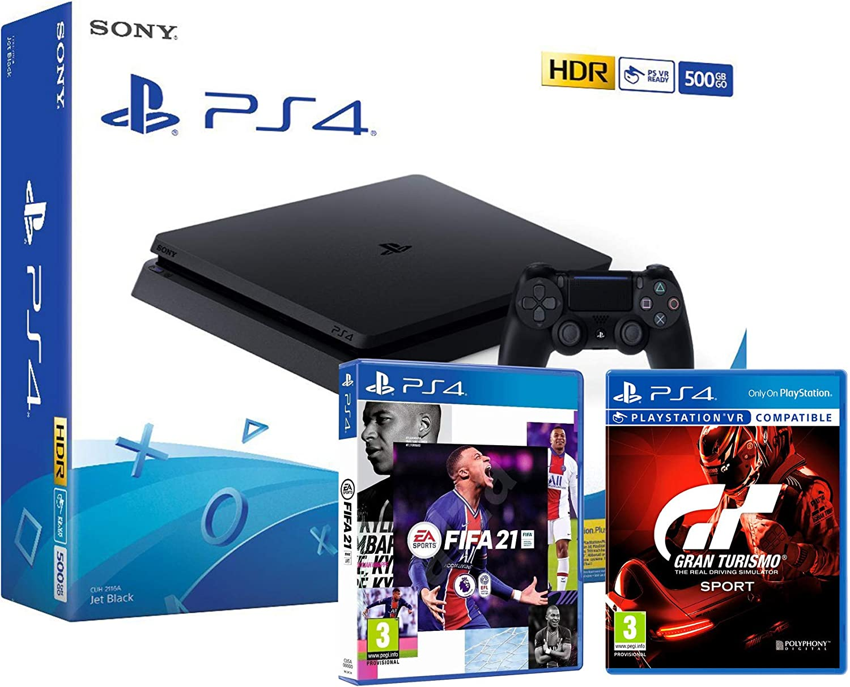 PS4 Slim 500Gb Negra Playstation 4 Consola + FIFA 21 + GT Sport Gran Turismo