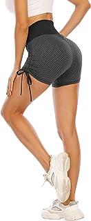 Cucuchy Womens Booty Butt Lifting Running Shorts High Waisted Ruched Yoga Workout Short Leggings