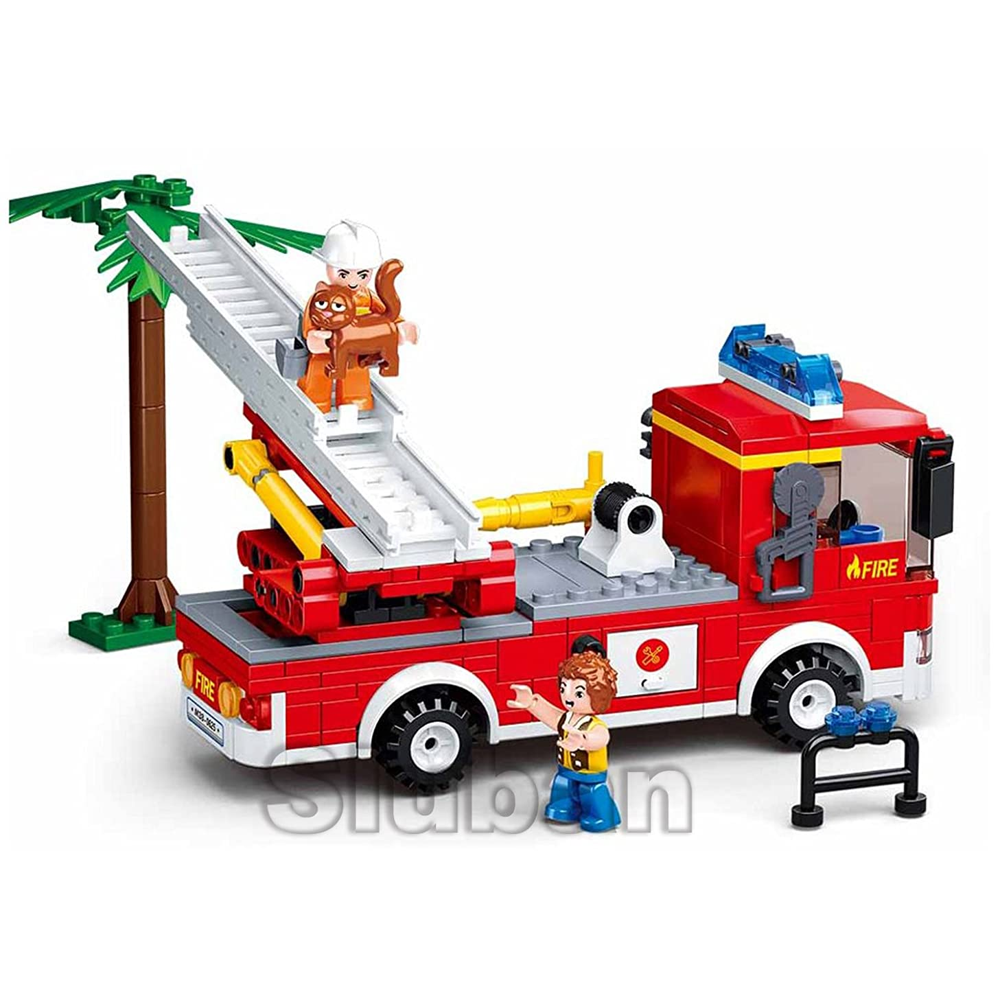 Sluban Fire Truck with Aerial Ladder - 269 Pieces in Original English Box 100% Compatible. Construction Building Brick Educational Toy (M38-B0625)