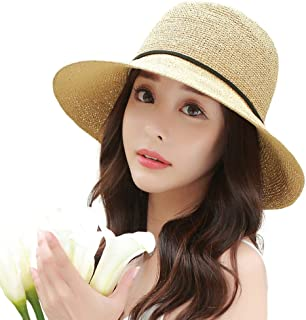 Siggi Womens Summer Sun Straw Hat UPF 50+ Packable Wide Brim for Ladies Foldable Adjustable 56-59cm