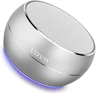Bluetooth Speaker with Dual Stereo Pairing UDISON Portable Mini Outdoor Wireless Speaker with Enhanced Bass, Built-in Mic, Handsfree, TF& Aux for Phones Ipad Echo Dot -Silver