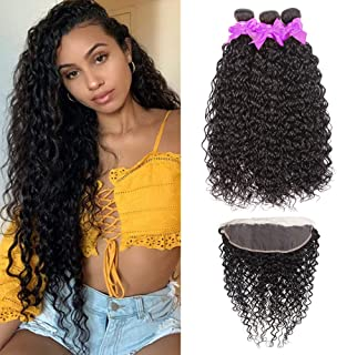 Miss CARA Brazilian Hair Water Wave Bundles with Frontal 13x4 Free Part Lace Frontal 100% Virgin Human Hair Bundles Lace Frontal with Bundles Hair Extensions Natural Color (18 20 22+16)