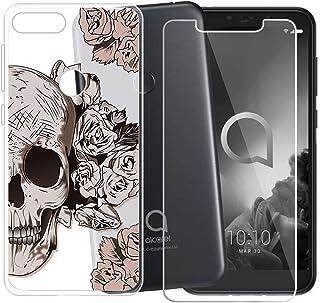 f62d65d98aa HHUAN Funda para Alcatel 1S 2019 Semi-Transparente Cover Suave Silicone  Cabeza de Rosa Caso