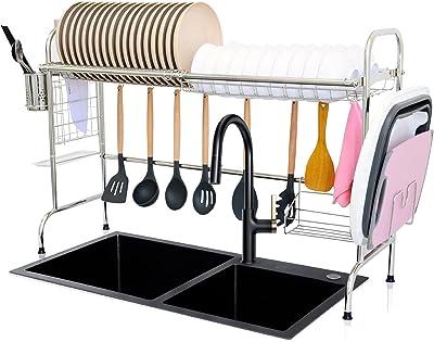 AKOZLIN Estante para fregadero de 32 1/8 pulgadas estable 201 de acero inoxidable escurridor, escurridor, soporte para estante de cocina