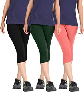 Fablab Women Skin Tight Capris(BlackGreenCarrotRed,Free Size) Combo Pack of 3.
