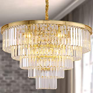 Meelighting Gold Plated Modern Crystal Chandeliers Lighting Contemporary Pendant Chandelier Ceiling Lamp Lights Fixture 5-Tier (16 Lights) for Dining Room Living Room Hotel