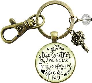 Wedding Flower Designer Gift Keychain A New Life We Start Rustic Florist Pendant Bridal Bouquet Charm Thank You Card