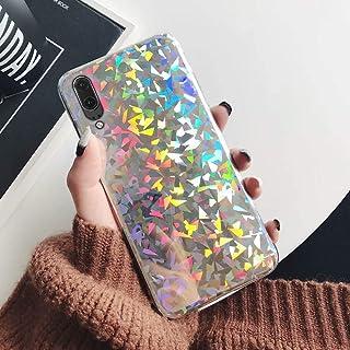 JAWSEU Kompatibel med Huawei P20 fodral glitter flicka, glänsande gnistra bling laser paljetter mobiltelefonfodral mjuk ul...