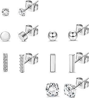 Udalyn Juego de 6 pares de pendientes de tuerca de acero inoxidable para mujeres y hombres, simples y pequeños, con forma ...
