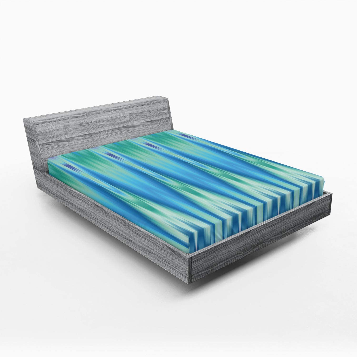 Lunarable Teal Fitted Topics on TV Sheet Chicago Mall Colorful Ikat Pattern Design Style