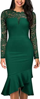 Knitee Women's Vintage V-Neck Lace Floral Long Sleeve Formal Business Evening Party Cocktail Sheath Dress