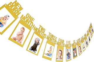 Jovitec Newborn to 12 Month Baby Photo Banner 1st Birthday Bunting Garland First Birthday Party Decor, Great Baby Shower (Gold)
