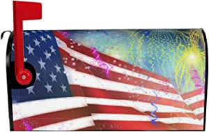 BASVO 4th of July Independence Day Mailbox Covers Magnetic 4th of July Independence Day Post Box Covers Wrapped Oversize 21 X 18 in for Garden Yard Decor(Two Sides are The Same)