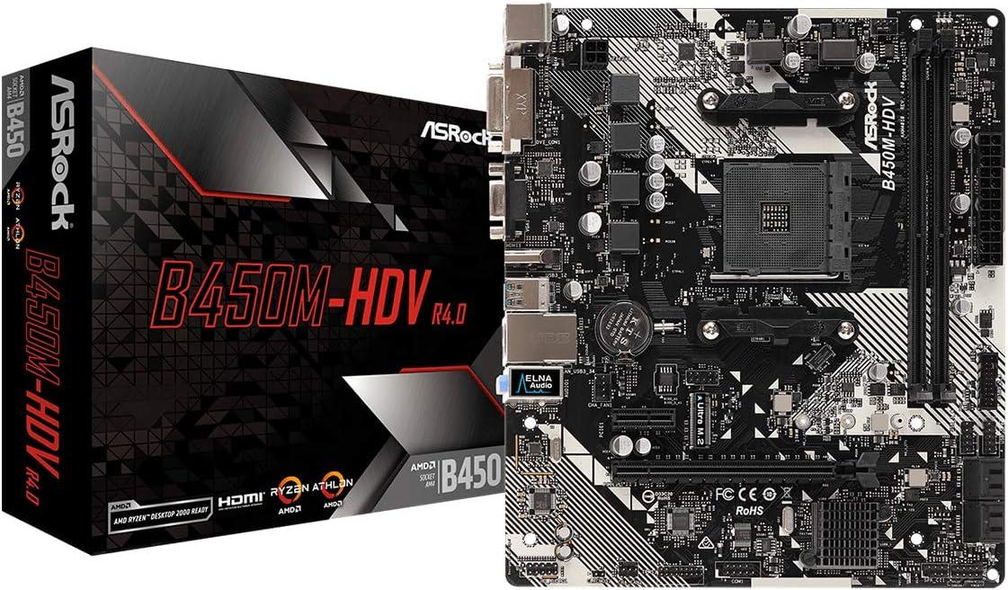 Asrock B450M-HDV R4.0 - Placa Base (AMD, Zócalo AM4, AMD Ryzen, DDR4-SDRAM, DIMM, 2133,2400,2667,2933,3200 MHz)