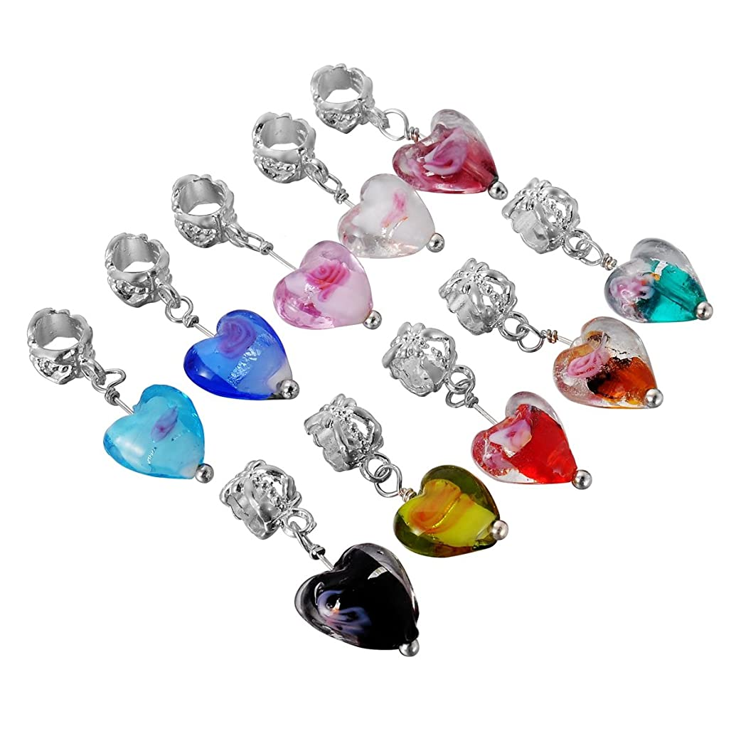 HooAMI 20pcs Mixed Glass Flower Heart Dangle Beads Fit Charm Bracelet 28x12mm