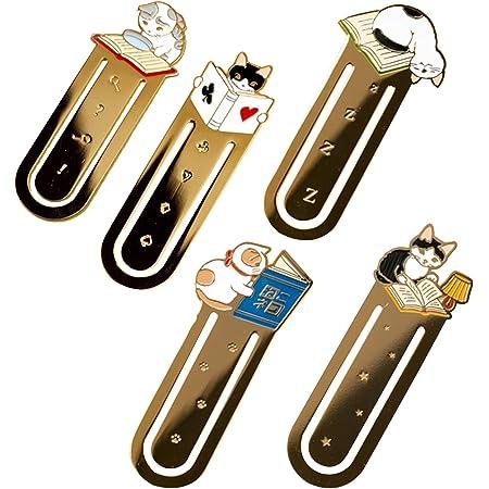 5個のかわいい漫画の猫ブックマーク金属ブックマークスクール事務用品ジャーナルヴィンテージブックマーク文房具