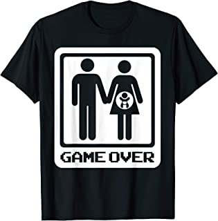 Mens Game Over First Child Marriage Pregnancy Gift For Husband T-Shirt
