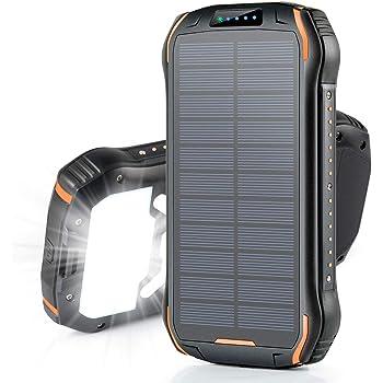26800mAh モバイルバッテリー ソーラー 大容量 ソーラーチャージャー Soxono 15W急速充電 ソーラー充電器 三つ出力ポート18個LEDライト付き IPX6防水 耐衝撃 災害 旅行 アウトドアに大活躍に iPhone iPad Android対応