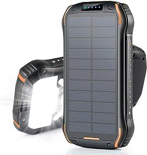 26800mAh モバイルバッテリー ソーラー 大容量 ソーラーチャージャー Soxono 15W急速充電 ソーラー充電器 三つ出力ポート18個LEDライト付き IPX6防水 耐衝撃 災害 旅行 アウトドアに大活躍に iPhone iPad A...