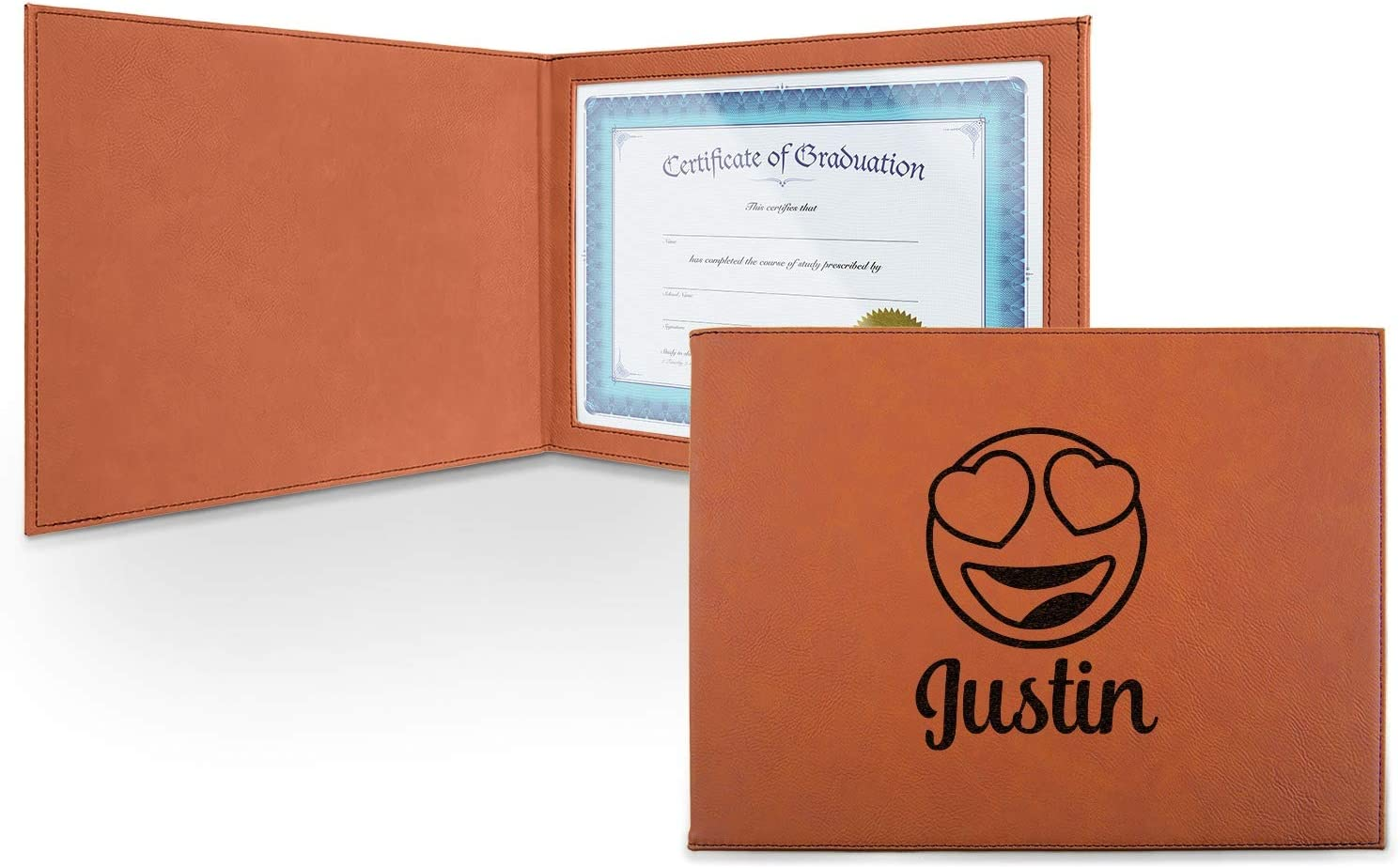 Emojis Leatherette Certificate Holder - Front Challenge the lowest price Personalized Fresno Mall