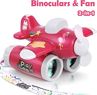 iPlay, iLearn Kids Binoculars Toy, 2-in-1 Airplane Binocular & Portable Fan, Yard/Outdoor Observation Play Game for Preschool Science, Nature Explore Gift for 3 4 5 6 7 Year Old Girls, Toddlers, Child
