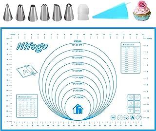 Nifogo Silicone Baking Mat Non-Stick & Piping Nozzles Set,Reusable Flexible Easy Clean BPA Free Kneading Mats for Fondant ...