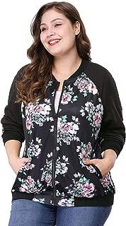 Women's Plus Size Zipper Raglan Sleeves Floral Bomber Jacket