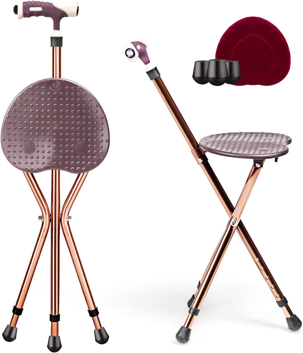 It is very popular GYMAX Walking Stick famous Chair Combo Folding Seat Cane LED with Ligh